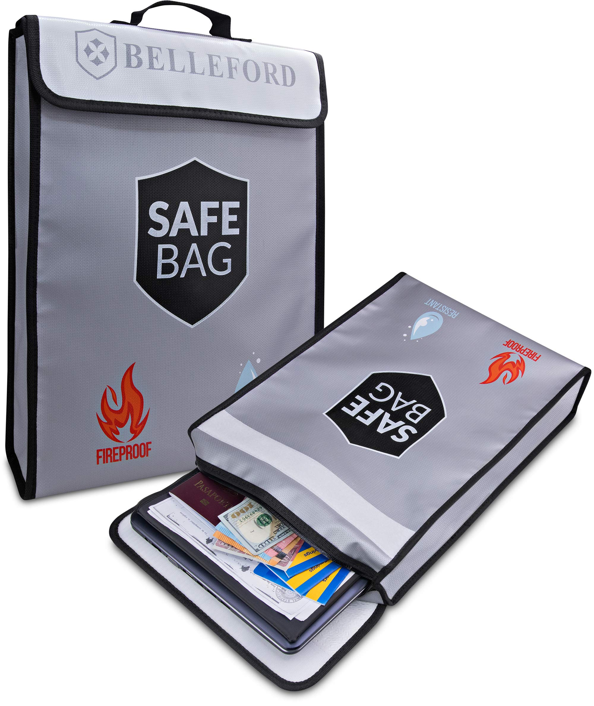Fireproof Document Bags - Fire Safe Box Bag - Jewelry Money Cash File Storage Holder Boxes Organizer Tool - Hide Key Dollar Items in Small Wall Safes for Home Fires - Hidden Photo Zipper Binder Tote