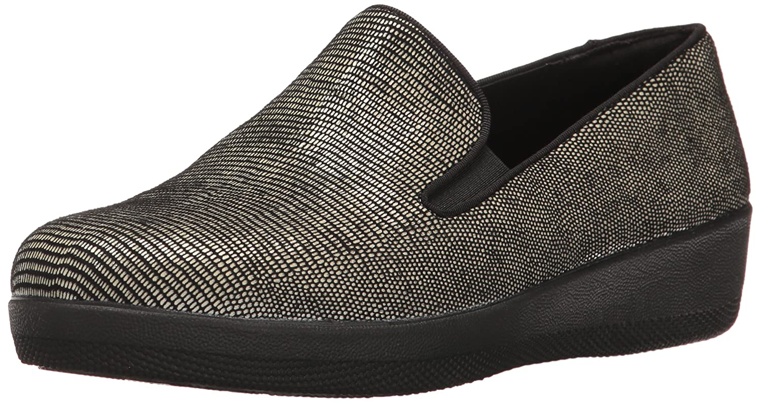 FitFlop Women's Superskate Lizard-Print Suede Loafer Flat B01LWU2OW0 9 B(M) US|Black