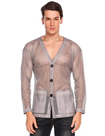 cddca93fd2e05 Coofandy Mens Casual See Through V Neck Cardigan with Pockets Fashion Fishnet  Mesh Shirts Top