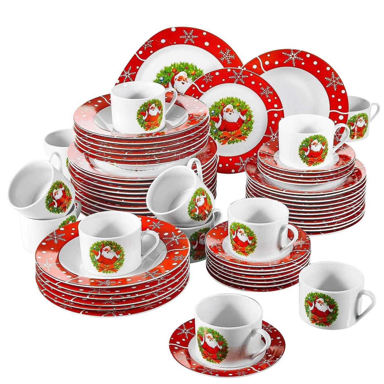 Serie Christmastree,vajillas de Porcelana 60 Piezas vajilla Completa para 12 Personas, VEWEET CHRISTMASDEER-60 pcs