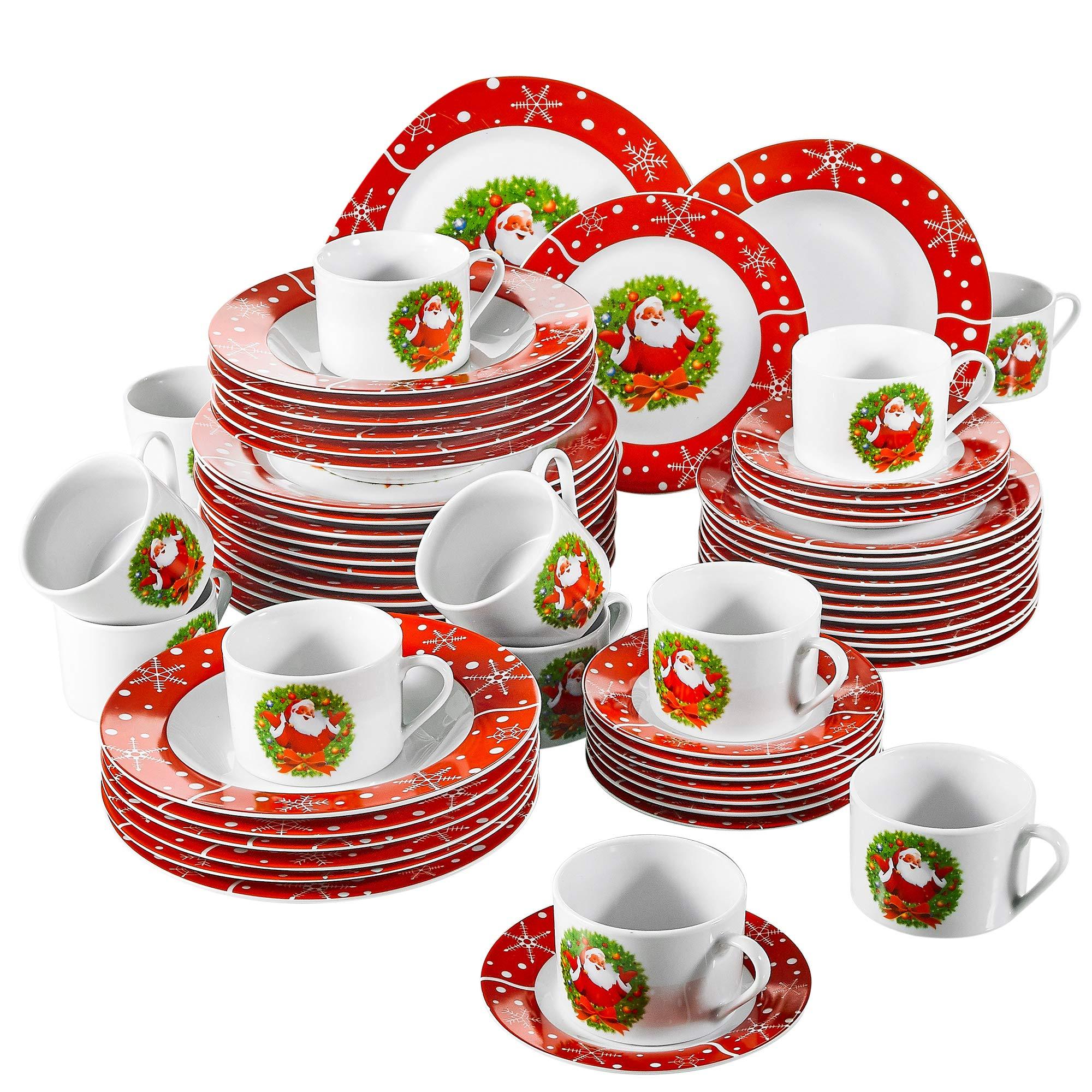 VEWEET,Serie SANTACLAUS,vajillas de Porcelana,60 Piezas vajilla Completa para 12 Personas, 12 Tazas de café, 12 platillos,12 Platos de Postre,12 Platos ...