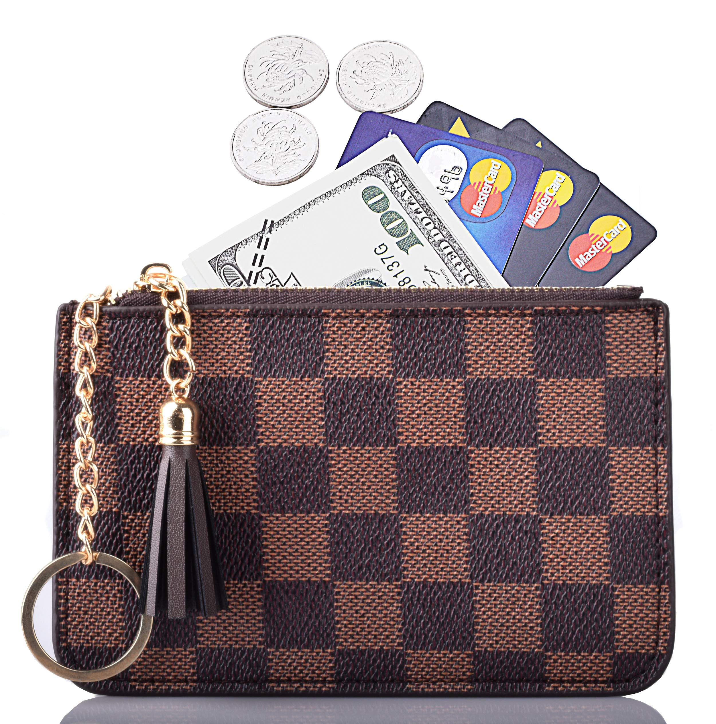 e5424518faea Details about Women Coin Purse Leather Change Credit Card Holder Wallet  with Key Chain Tassel