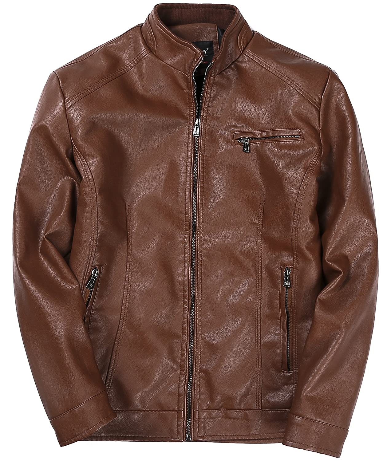 AYG Mens Ultra-fine Fiber Leather Thickening Jacket with Brand New Motorcycle Coat Designer Style(Brown/Black)B16