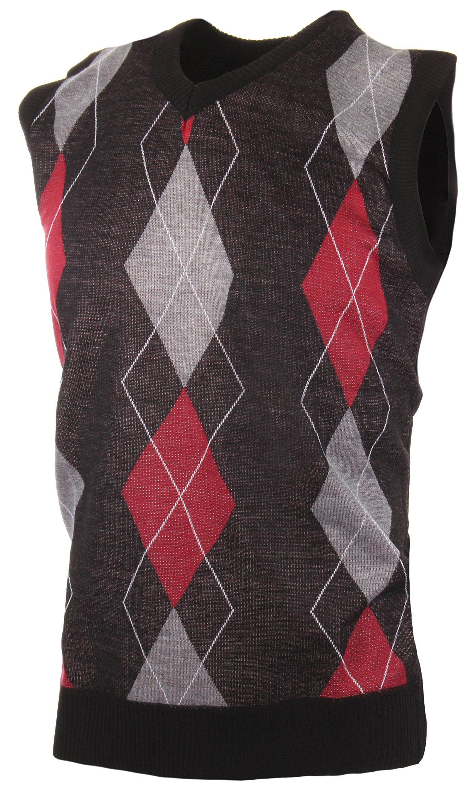 Enimay Men's Business Casual Fashion V Neck Argyle Golf Sweater Vest Argyle Black | Grey | Red Large by Enimay