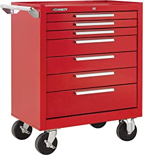 "product image for Kennedy Manufacturing 277Xr 27"" 7-Drawer Industrial Tool Storage Roller Cabinet With Chest And Wheels, Industrial Red"