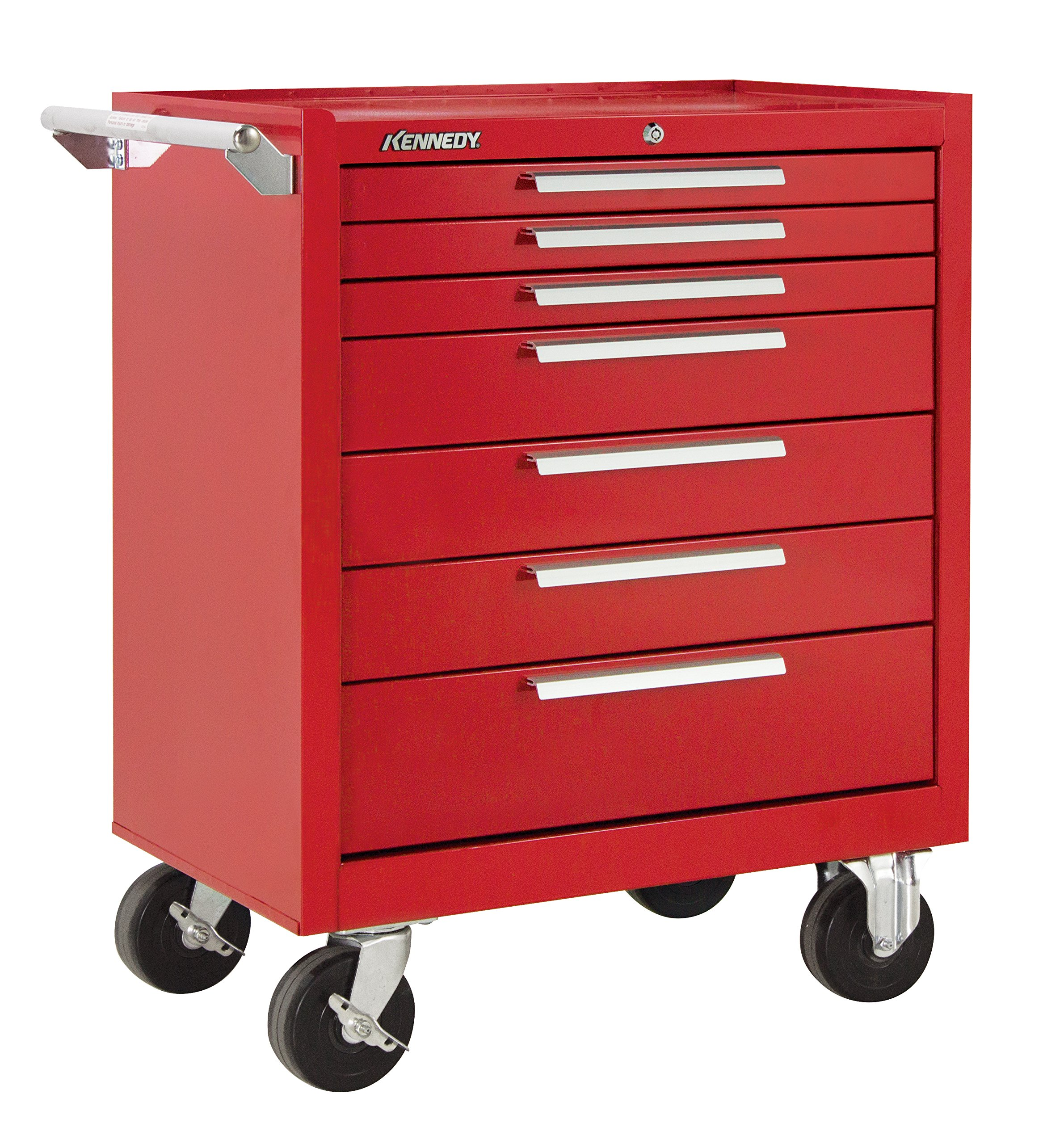 Kennedy Manufacturing 297R 29'' 7-Drawer Industrial Tool Storage Roller Cabinet With Chest And Wheels, Industrial Red