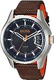 HUGO BOSS Men's Hong Kong Sport Stainless Steel Quartz Watch with Nylon Strap, Brown, 21 (Model: 1550002)