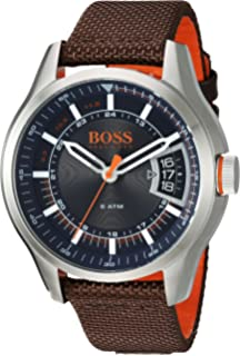 c009963eb4eca HUGO BOSS Men's Hong Kong Sport Stainless Steel Quartz Watch with Nylon  Strap, Brown,