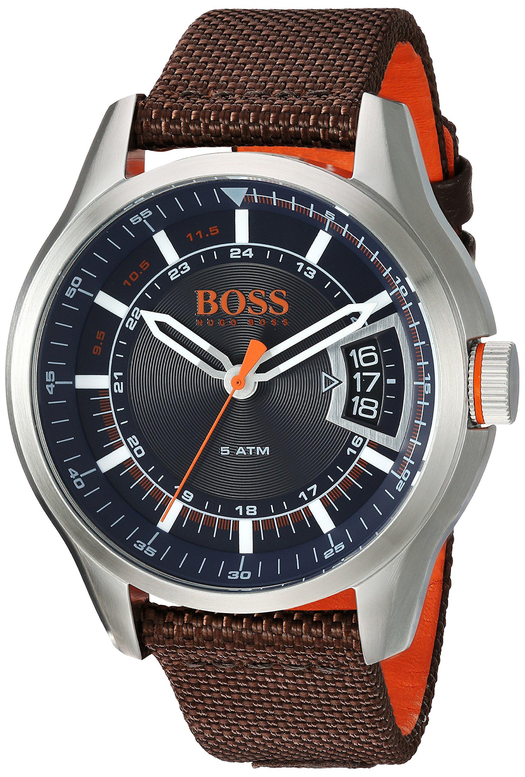 HUGO BOSS Men's Hong Kong Sport Stainless Steel Quartz Watch with Nylon Strap, Brown, 21 (Model: 1550002) by Hugo Boss