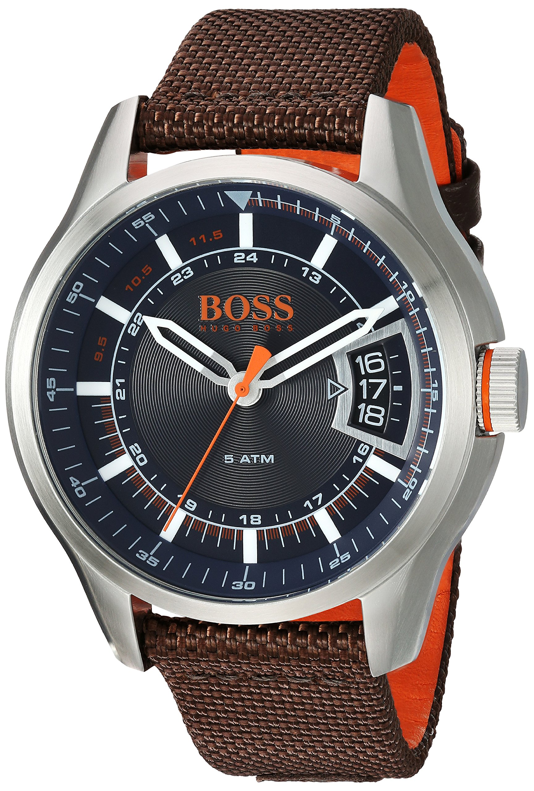 Hugo BOSS Men's 'Hong Kong Sport' Quartz Stainless Steel and Nylon Casual Watch, Color:Brown (Model: 1550002)