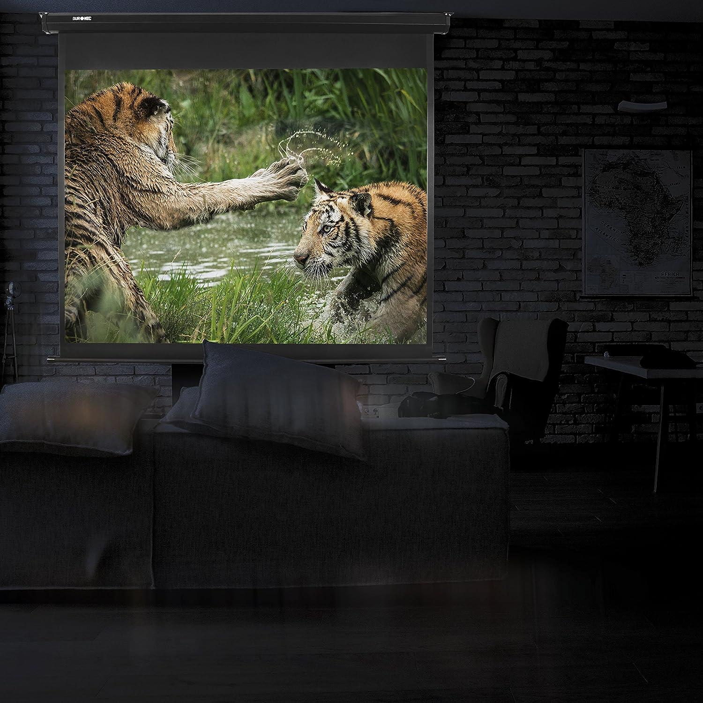 "Full HD y 3D Pantalla para Proyector 60/"" 4:3 Fijaci/ón de Pared y Techo 122 x 91 cm Duronic MPS60 //43 Pantalla de Proyecci/ón Enrollable Manual"