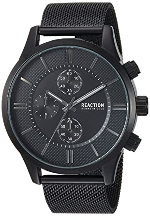 0aaf1ce59 Amazon.com: Kenneth Cole REACTION Male Analog-Quartz Watch with Black  Strap, Stainless Steel, 22 (Model: RKC0214001): Watches