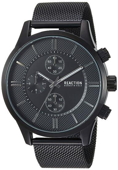 e0e223a9da93 Kenneth Cole Men s Reaction Analog Black Tone Metal Mesh Bracelet Wrist  Watch (Model  RKC0214001