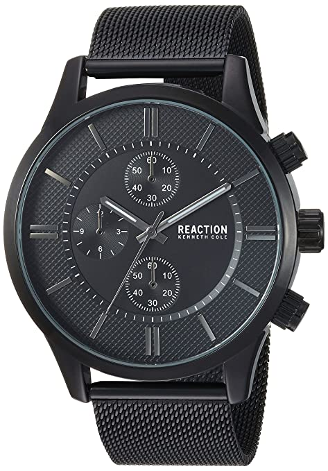 Kenneth Cole REACTION Men's Quartz Metal and Stainless Steel Casual Watch Color:Black (Model: RKC0214001) Men at amazon
