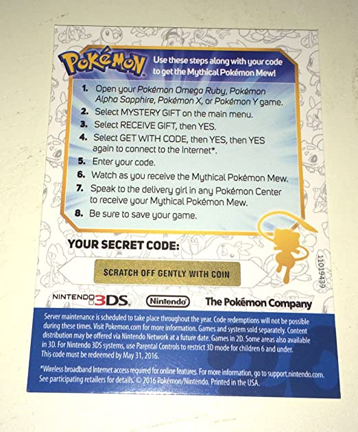 Amazon.com: Pokemon 20th Anniversary Mew Code ( Code only): Toys ...