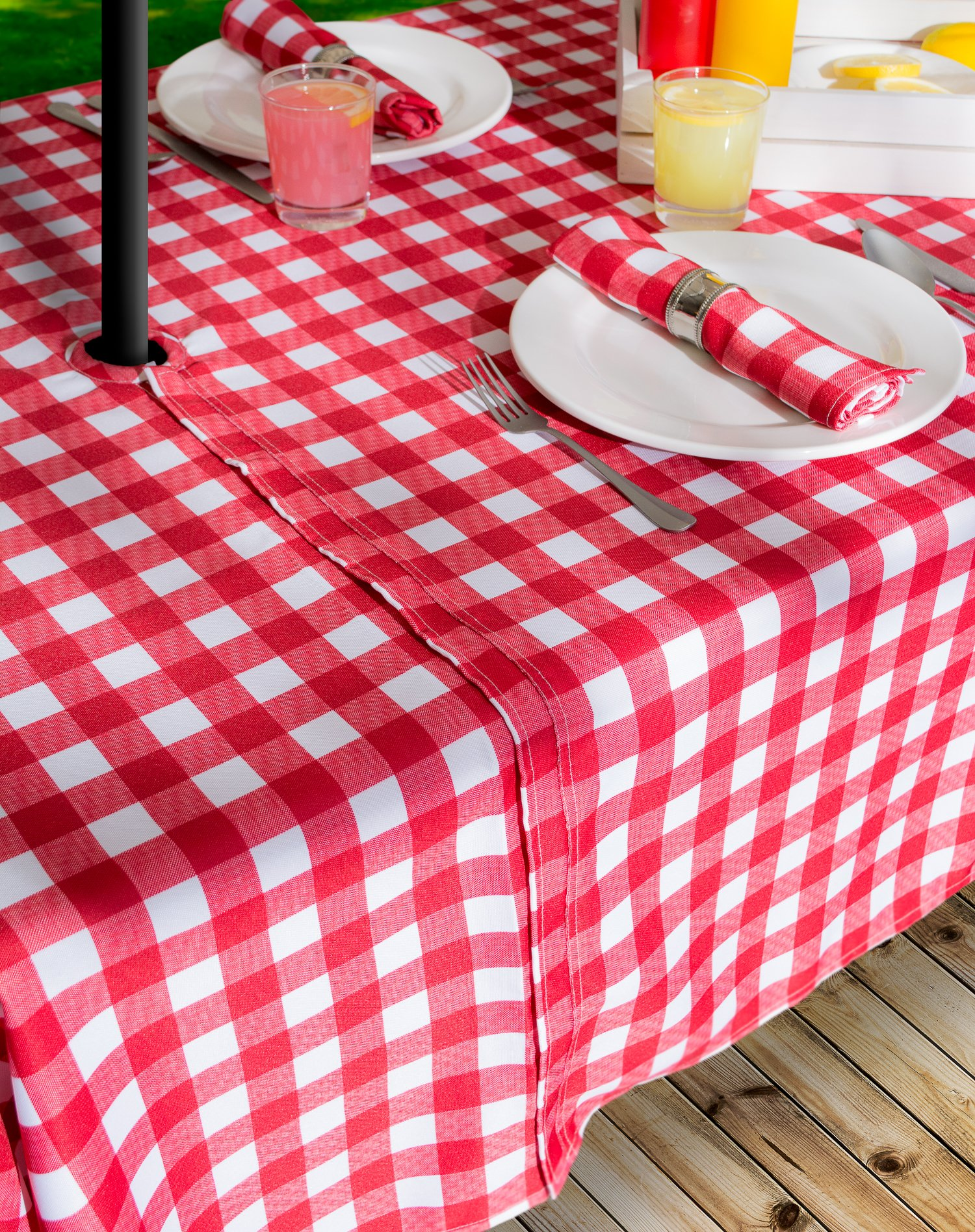 DII Spring & Summer Outdoor Tablecloth, Spill Proof and Waterproof with Zipper and Umbrella Hole, Host Backyard Parties, BBQs, & Family Gatherings - (60x120'' - Seats 10 to 12) Red Check by DII (Image #7)