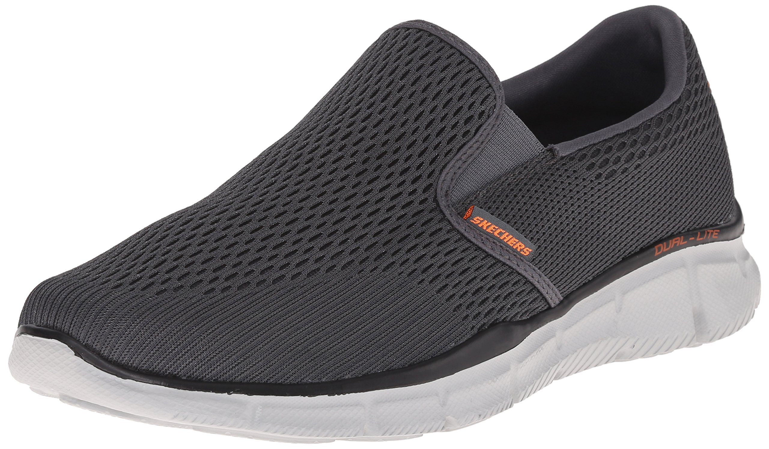 Skechers Men's Equalizer Double Play Slip-On Loafer,Charcoal/Orange,11 M US by Skechers