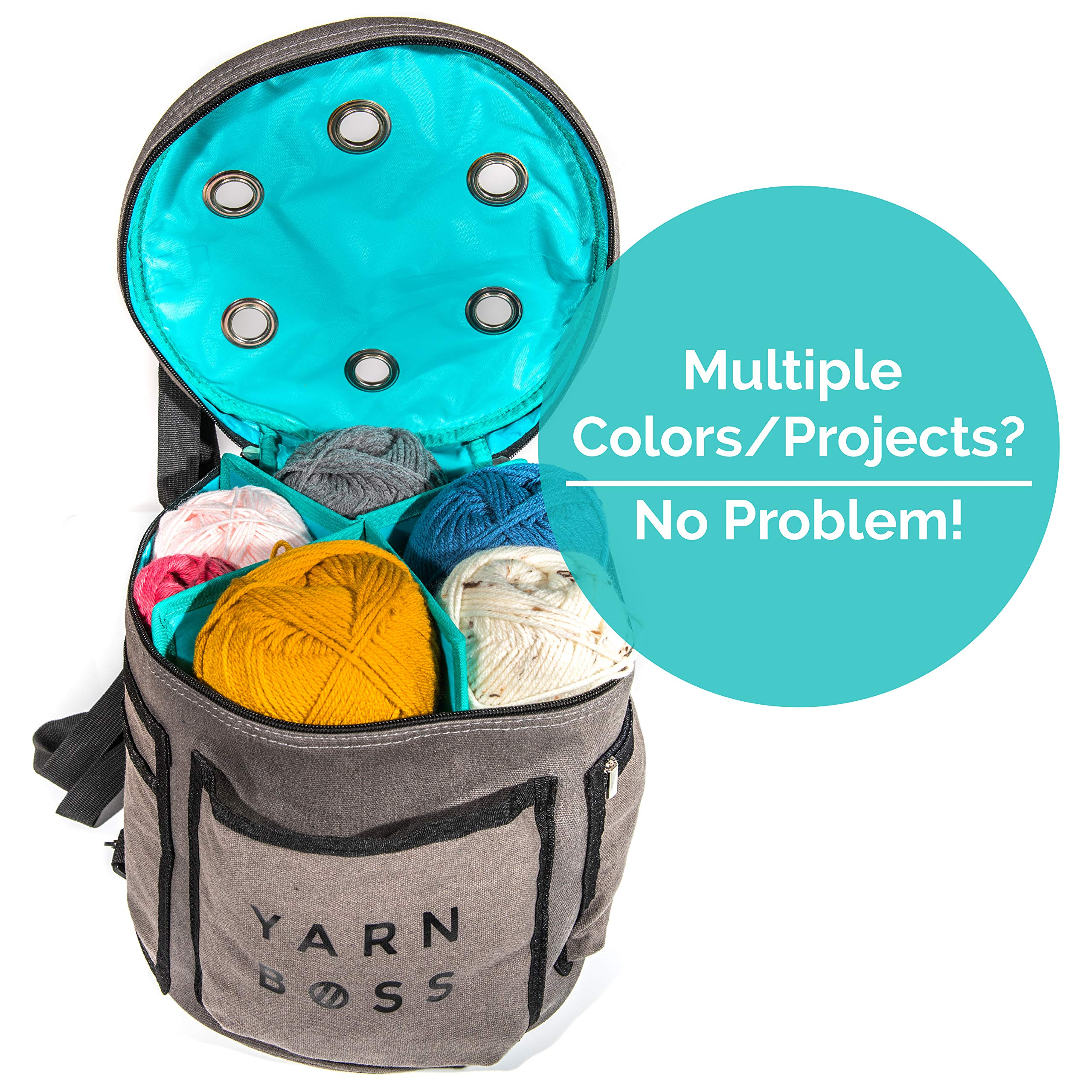 Yarn Boss Yarn Bag, Travel With Yarn and all Notions - Yarn Storage To Organize Multiple Projects and Keep Your Yarn Safe and Clean - Wide Grommets Stop Tangling for Best Crochet Bag or Knitting Bag by Yarn Boss (Image #4)