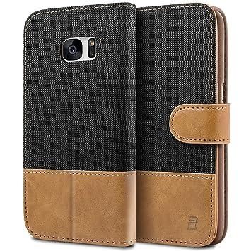 BEZ Funda Galaxy S7, Carcasa Compatible para Samsung Galaxy S7, Libro de Cuero con Tapas y Cartera, Cover Protectora con Ranura para Tarjetas y ...