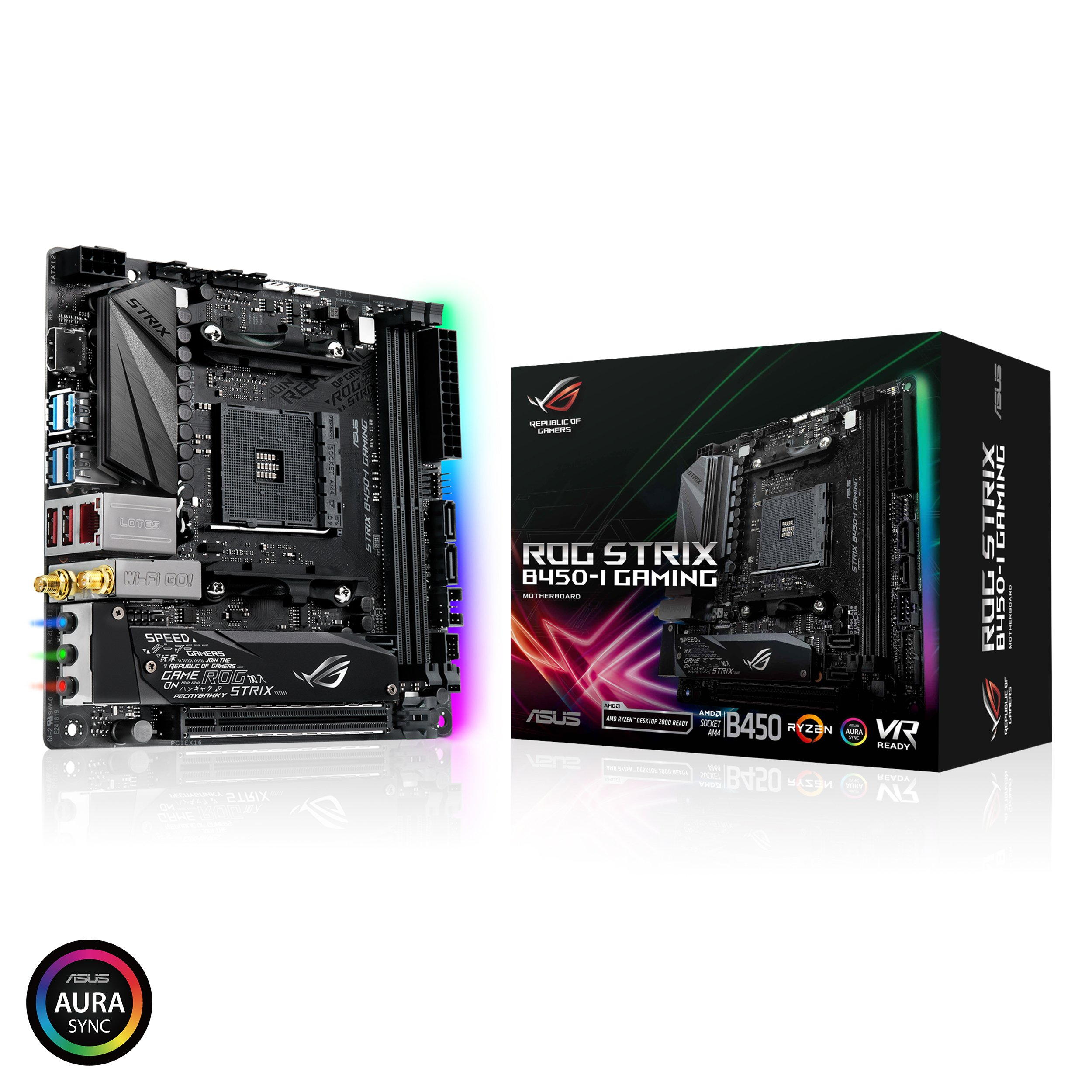 ASUS ROG Strix B450-I Gaming Motherboard (Mini ITX) AMD Ryzen 2 AM4 DDR4 HDMI M.2 USB 3.1 Gen2 B450