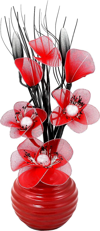 Flourish Creative Florals 5055278704520 Compositions florales artificielles petit Rouge 32cm