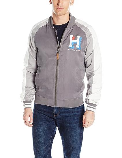 Tommy Hilfiger Denim Men s Varsity Bomber Jacket at Amazon Men s Clothing  store  b464f75d68