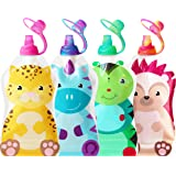 ChooMee Reusable Baby Food Pouch + 4 Sipn Valve Tops | Secure Double Zipper | 4 CT, 5 oz