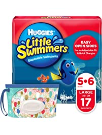 Huggies Little Swimmers Disposable Swim Diapers, Swimpants, Size 5-6 Large , 17 Ct, with Huggies Wipes Clutch 'N' Clean...