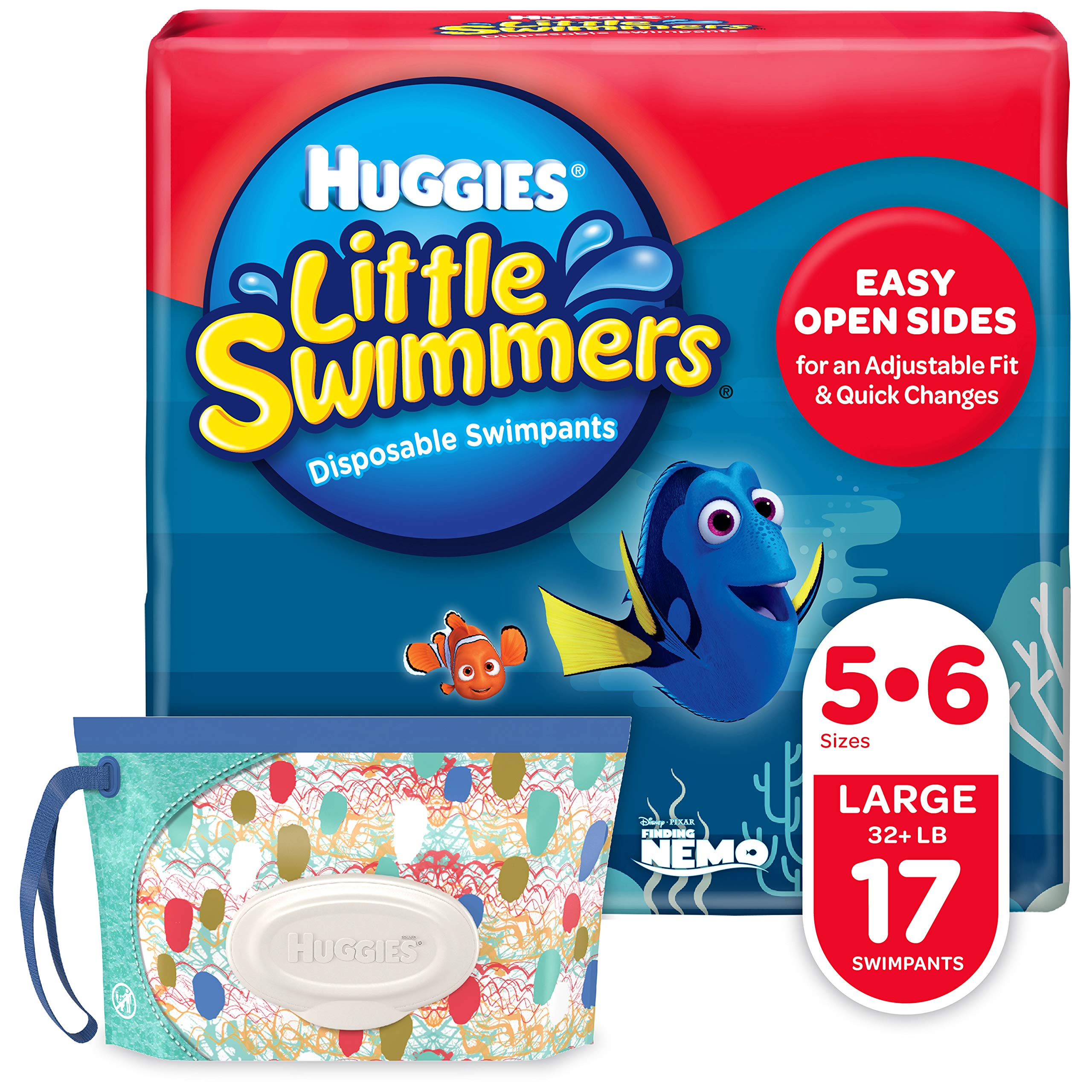 Huggies Little Swimmers Disposable Swim Diapers, Swimpants, Size 5-6 Large (Over 32 lb.), 17 Ct, with Huggies Wipes Clutch 'N' Clean Bonus Pack (Packaging May Vary) by HUGGIES