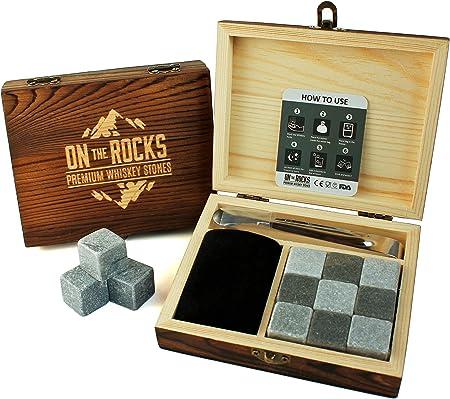 On The Rocks - Juego de Whisky piedras regalo | 9 rocas hieio | (Basalto, Esteatita natural y elegante caja de madera | pinzas y bolsa de terciopelo)