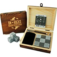 On The Rocks Luxury Whiskey Stones Gift Set   9 Natural Soapstone & Basalt Chilling Rocks   Stylish Handmade Wooden Box   Tongs & Velvet Pouch   Reusable Ice Cubes   A Perfect Gift for All Occasions