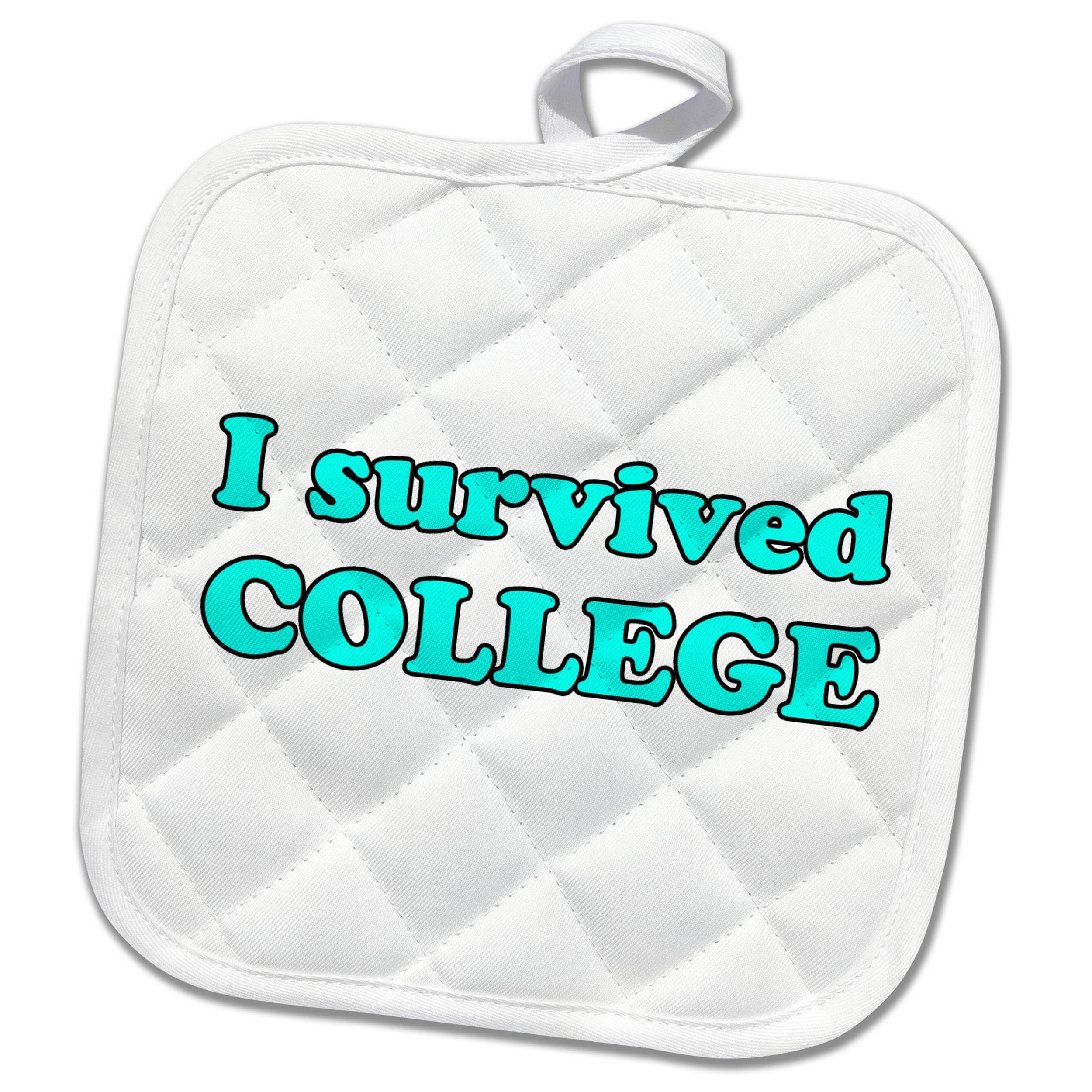3dRose Student Humor - I Survived College Turquoise - 8x8 Potholder (phl_274508_1)