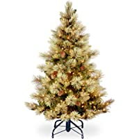 National Tree Includes Pre-strung White Lights and Stand Flocked with Cones Carolina Pine, 4.5 ft