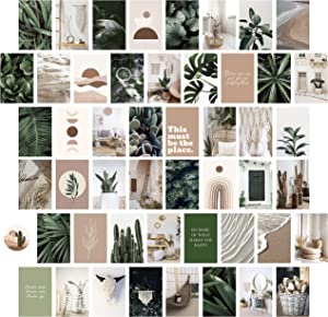Heather & Willow Photo Collage Kit for Wall Aesthetic Pictures 50 Set 4x6 Inch | Boho Cottagecore Indie Room Decor | Cute Wall Art for VSCO Girls | Pink Teen Girls Bedroom Decor - Boho Forest