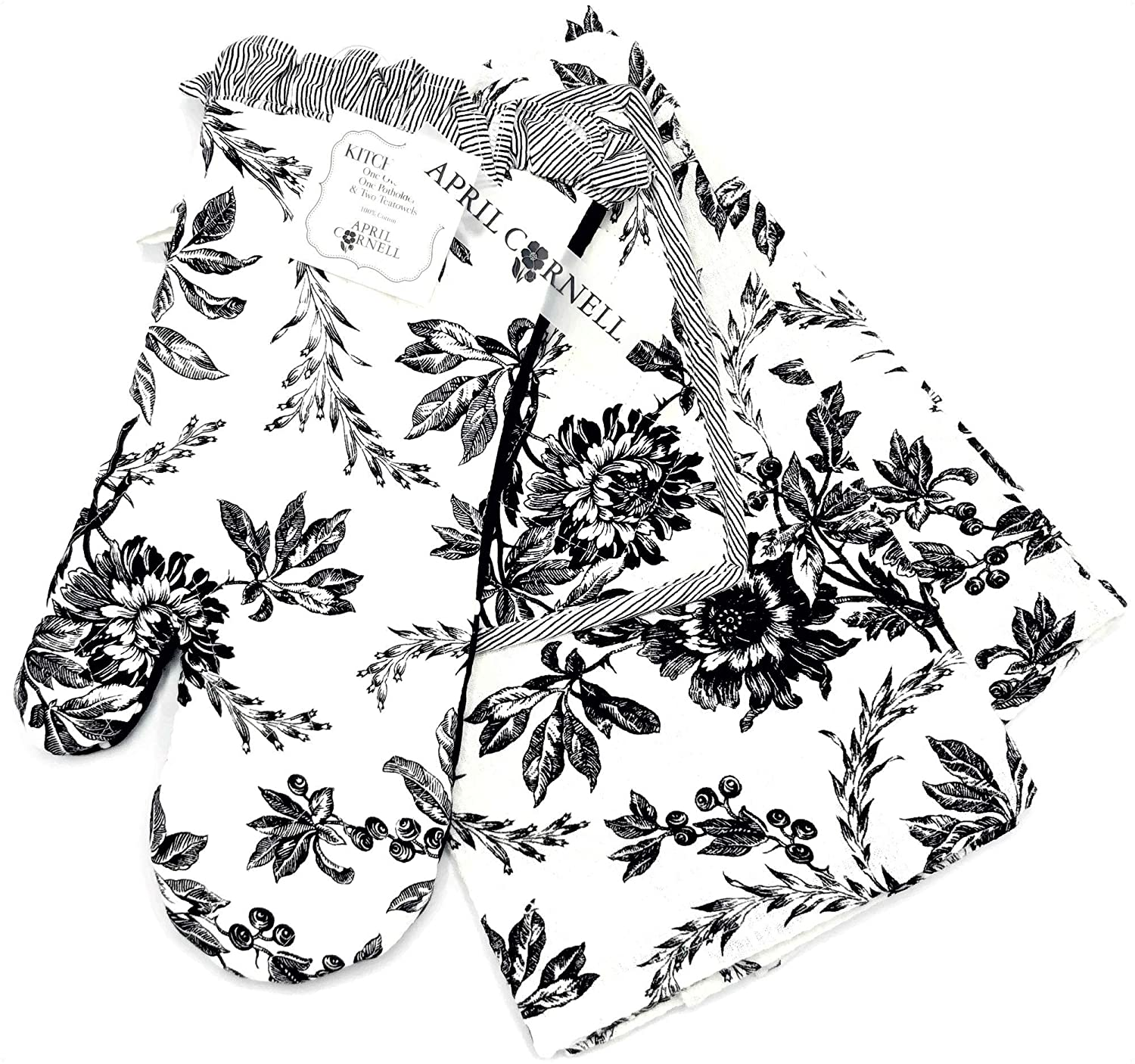 April Cornell Felicity Black Flowers Kitchen Set, Oven Mitt, Potholder, Tea Towel 4-Piece Set, Beautiful Sophisticated Floral Print in Black & White Design for Stunning Kitchen & Home Decor
