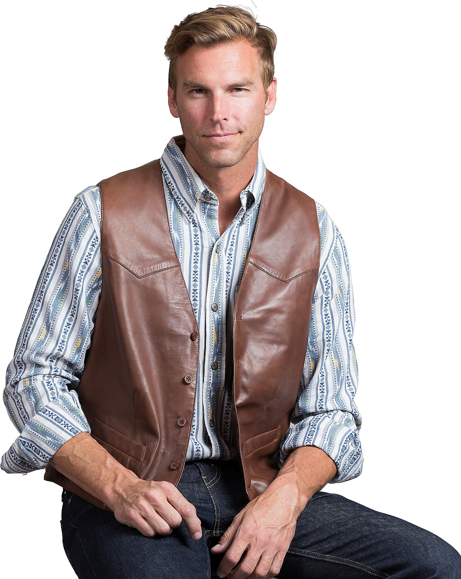 Glenn Waxed Lambskin Leather Vest, BRICK, Size 46