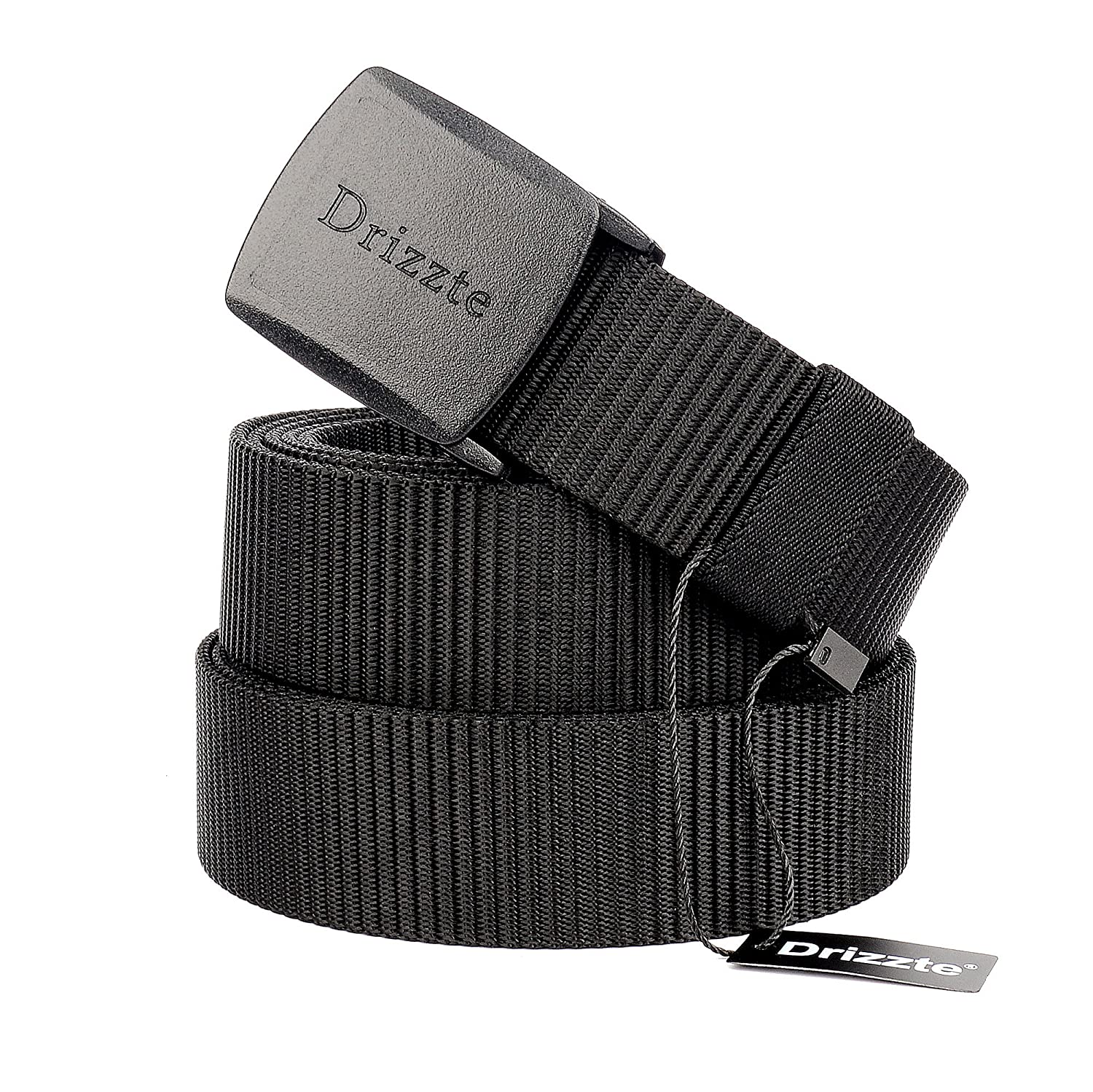 Drizzte Plus Size 51-79'' Men's Black Nylon Military Tactical Plastic Buckle Belt DB008