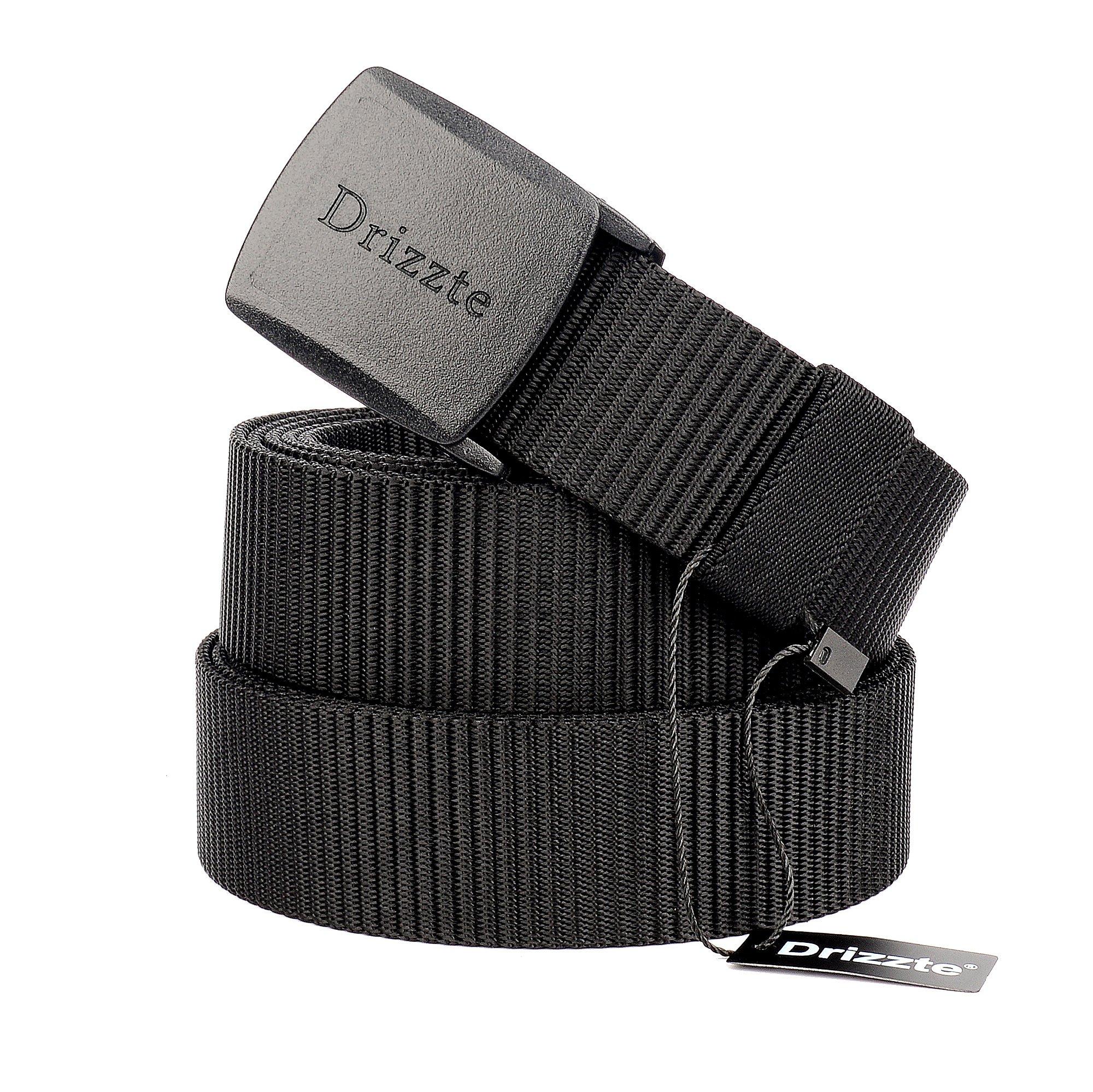 Drizzte 55'' Plus Size Long Men's Military Duty Web Nylon Belt Plastic Buckle Black