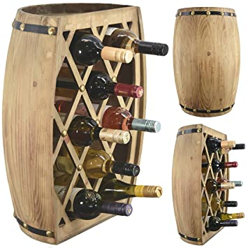 Large Wooden Barrel Wine Bottle Holder Display Storage Rack Hand