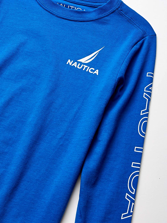 Nautica Boys Little Long Sleeve Arm Logo Crew Neck Tee
