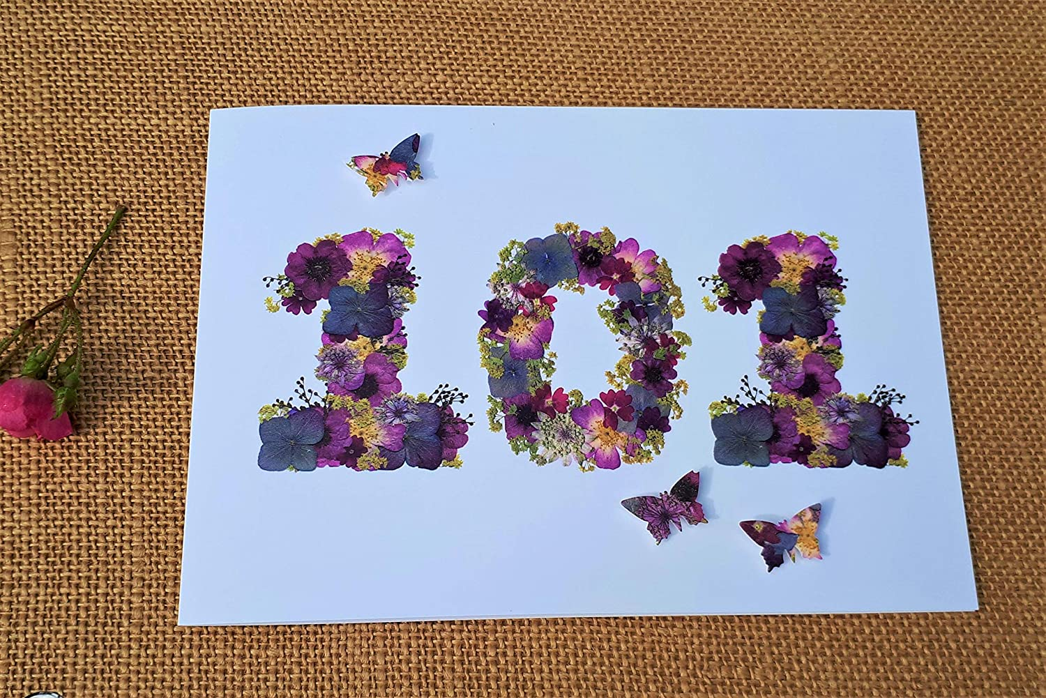 Floral 101 Birthday Card Pressed Flower Print Cards For Gardeners 101 Birthday Card