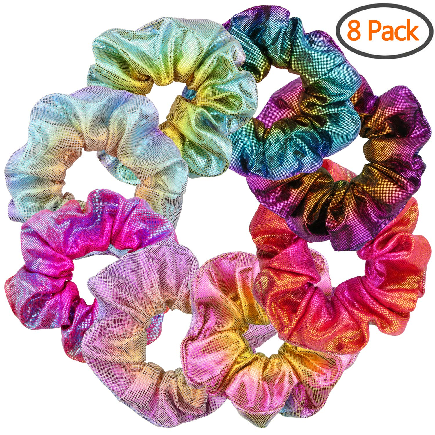 BETITETO Women Girls Mermaid Hair Elastics Shiny Metallic Scrunchies Ponytail Holders for Gym Dance Party Club, Set of 8