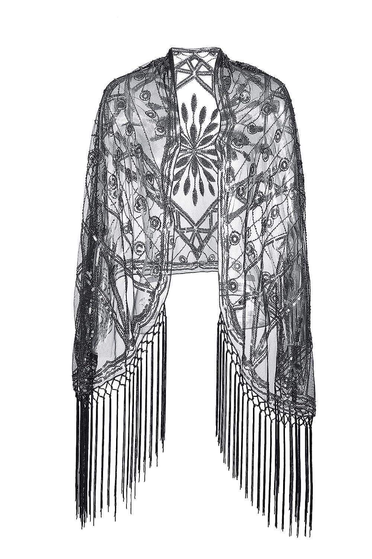 Lady/'s plain black gold sliver color sequin dancing dress jacket cape cardigan