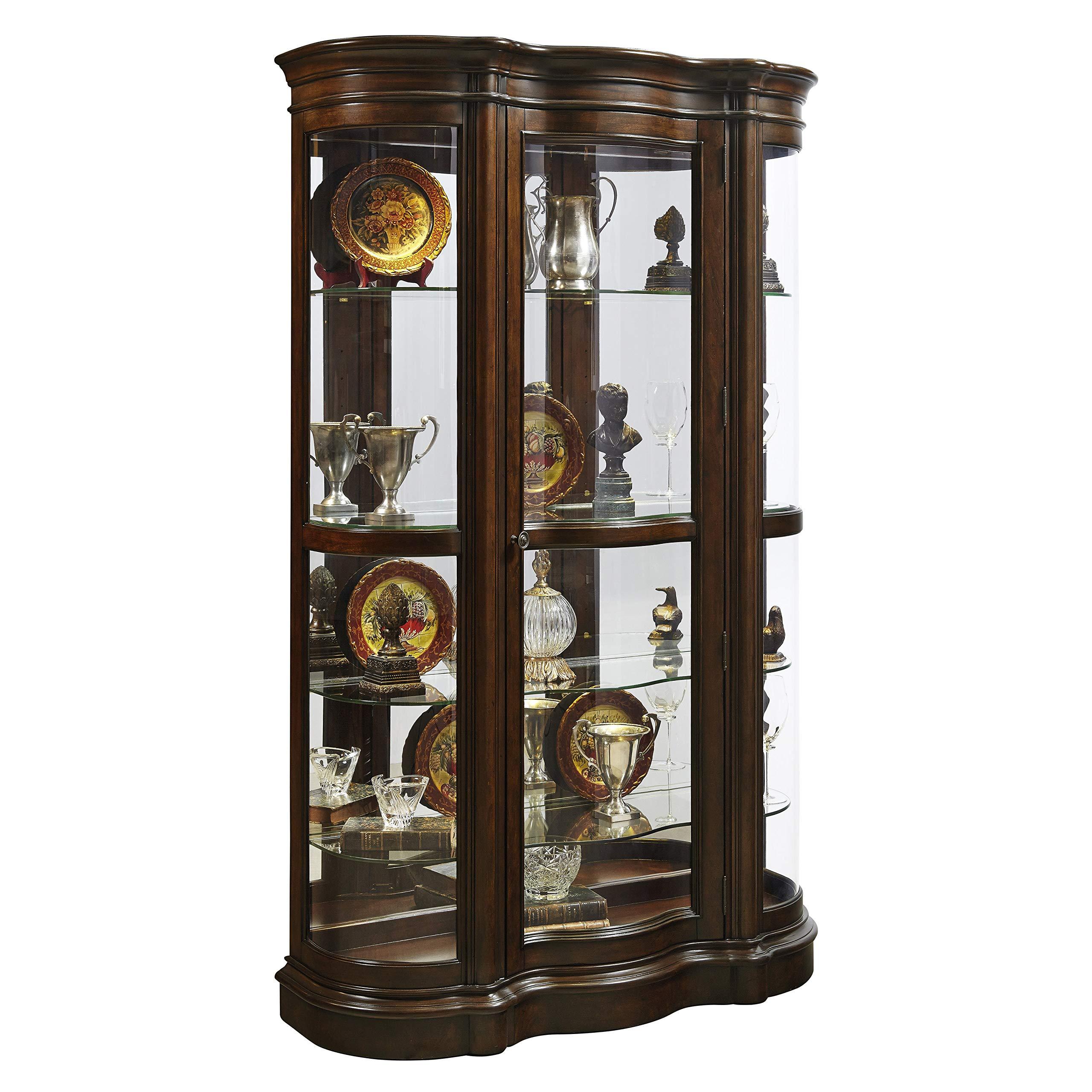 Sofaweb.com Brown Mid-Tone Shaped Front Curio Cabinet by Sofaweb.com