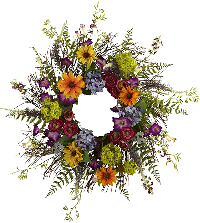 Nearly Natural 4821 24 Inch Spring Garden Wreath With Twig Base Multicolored Green Home Kitchen Amazon Com