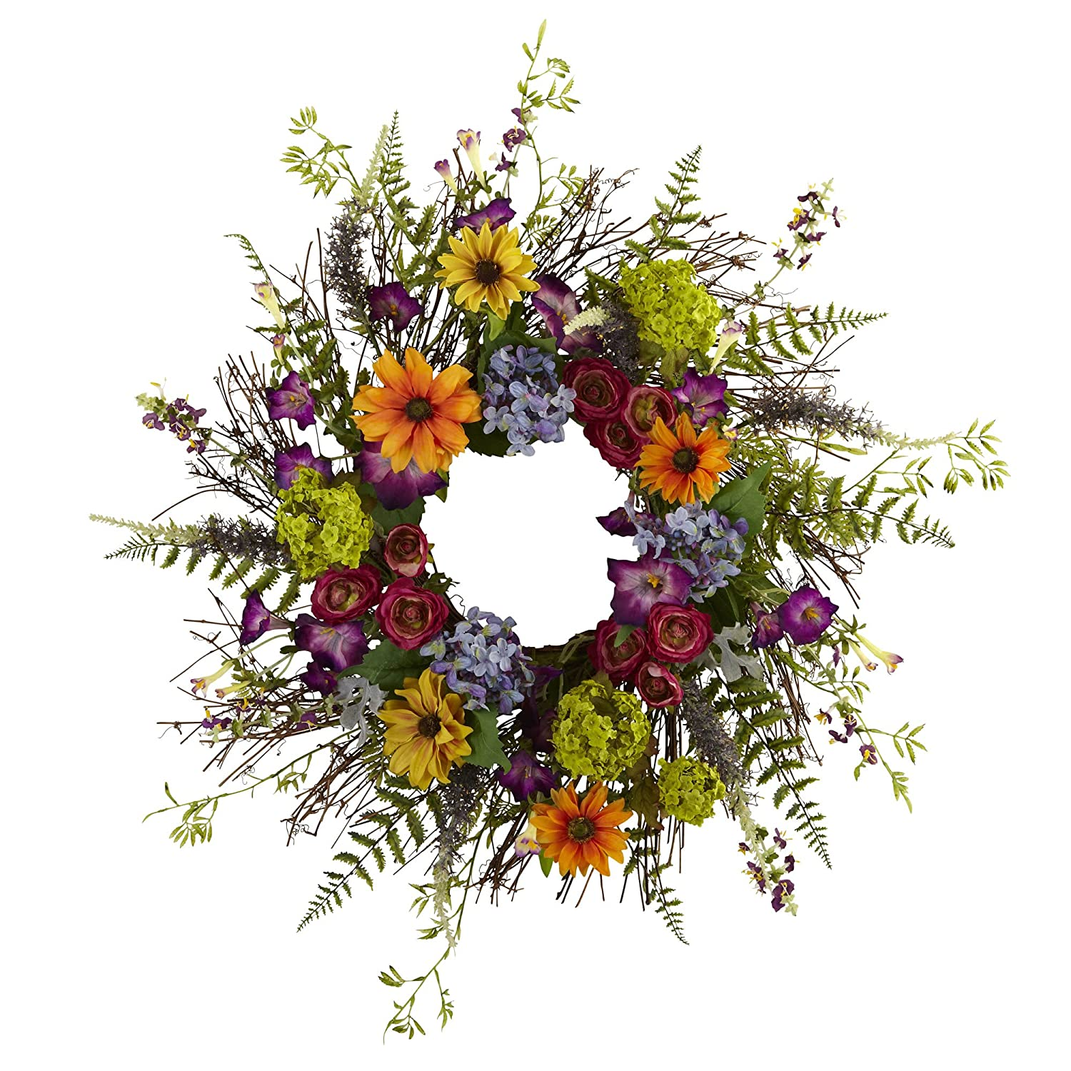 24-Inch Spring Garden Wreath with Twig Base, Multicolored/Green