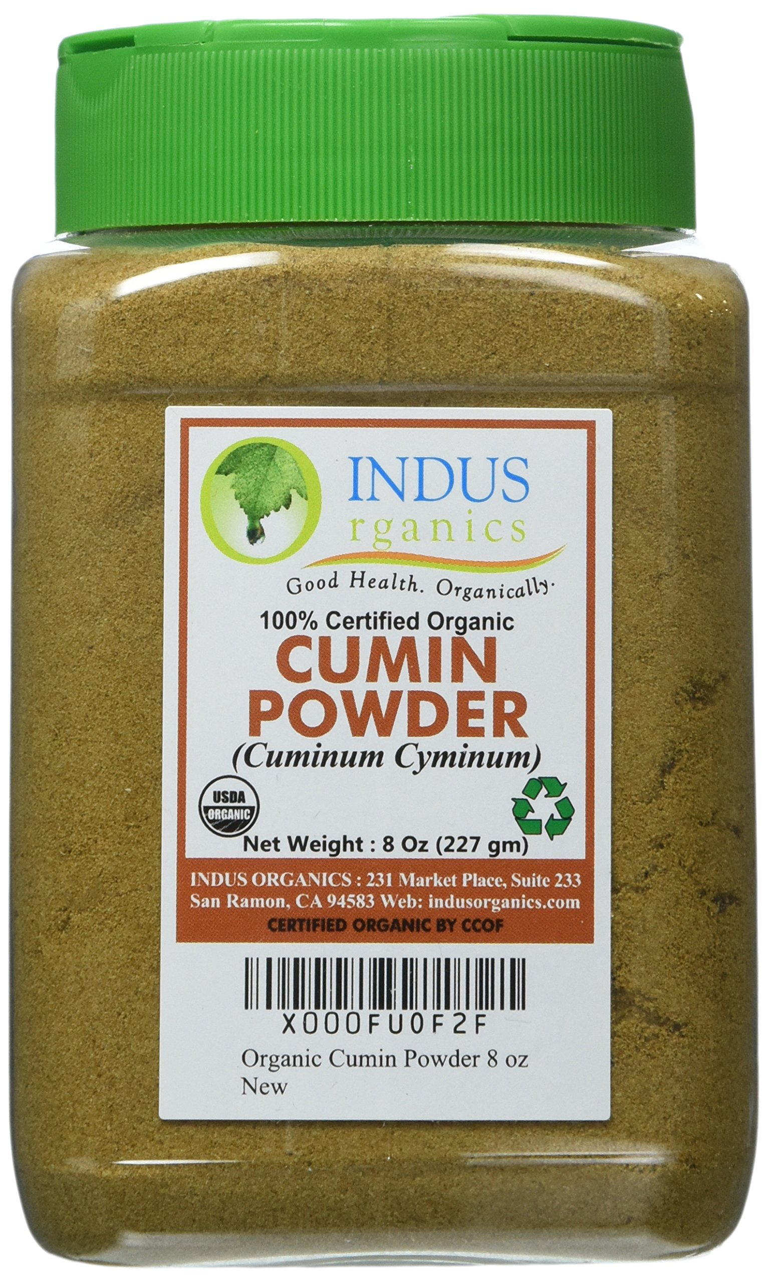 Indus Organics Cumin Seeds Powder, 8 Oz Jar, Premium Grade, High Purity, Freshly Packed