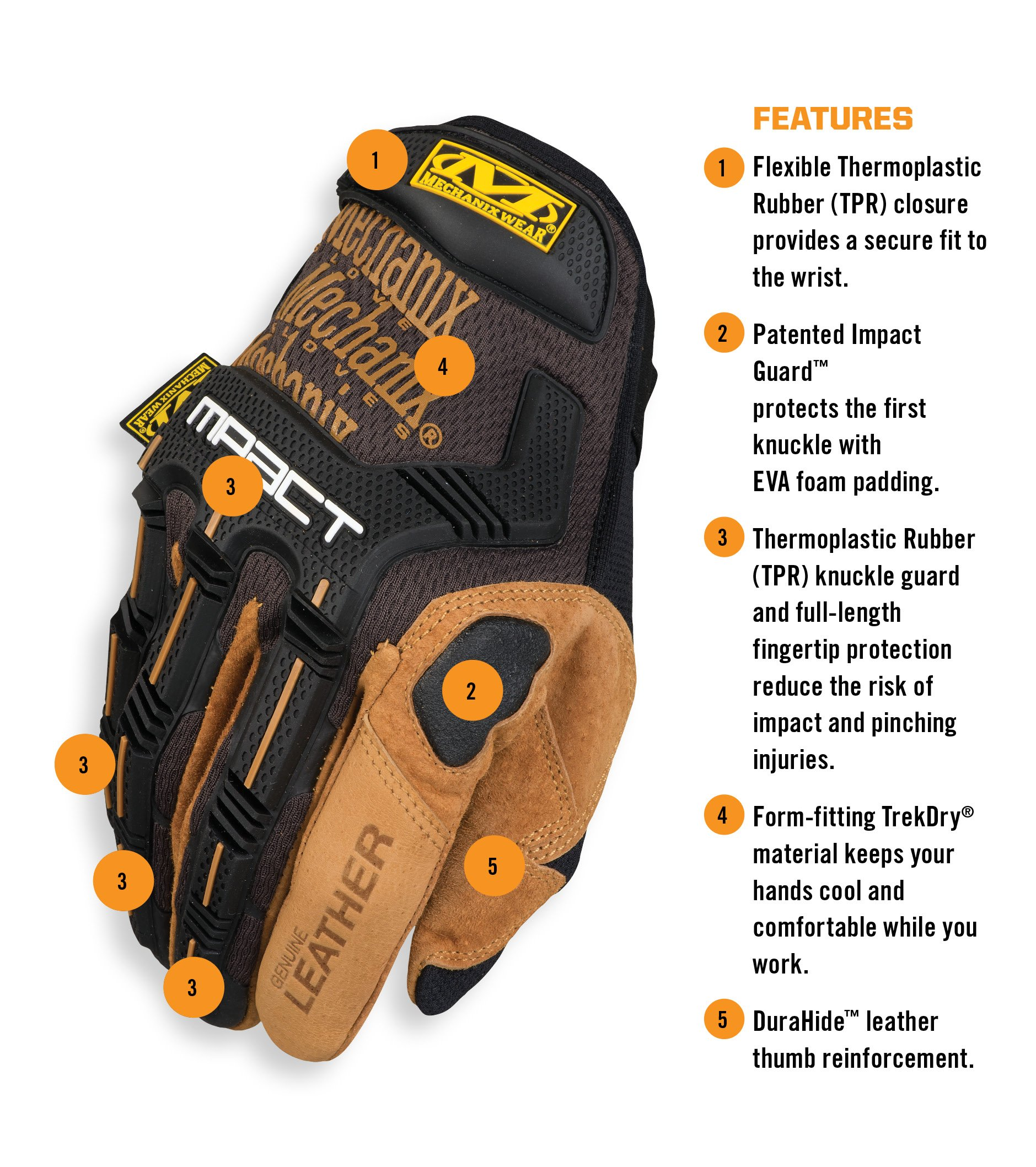 Mechanix Wear - Leather M-Pact Gloves (Large, Black/Brown) by Mechanix Wear (Image #2)