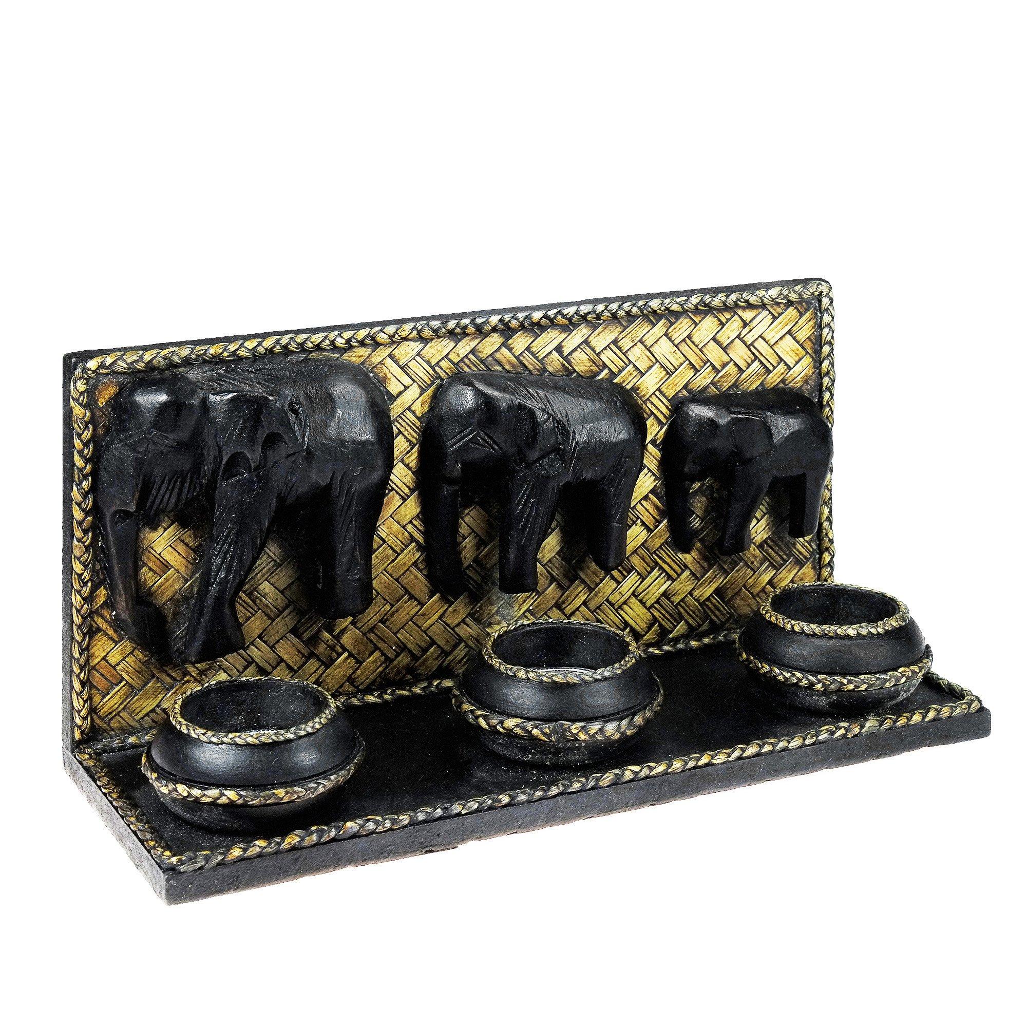 AeraVida Elephant Family Parade Carved Rain Tree Wooden Triple Candle Holder - Fair Trade Handicraft by Thai Artisans