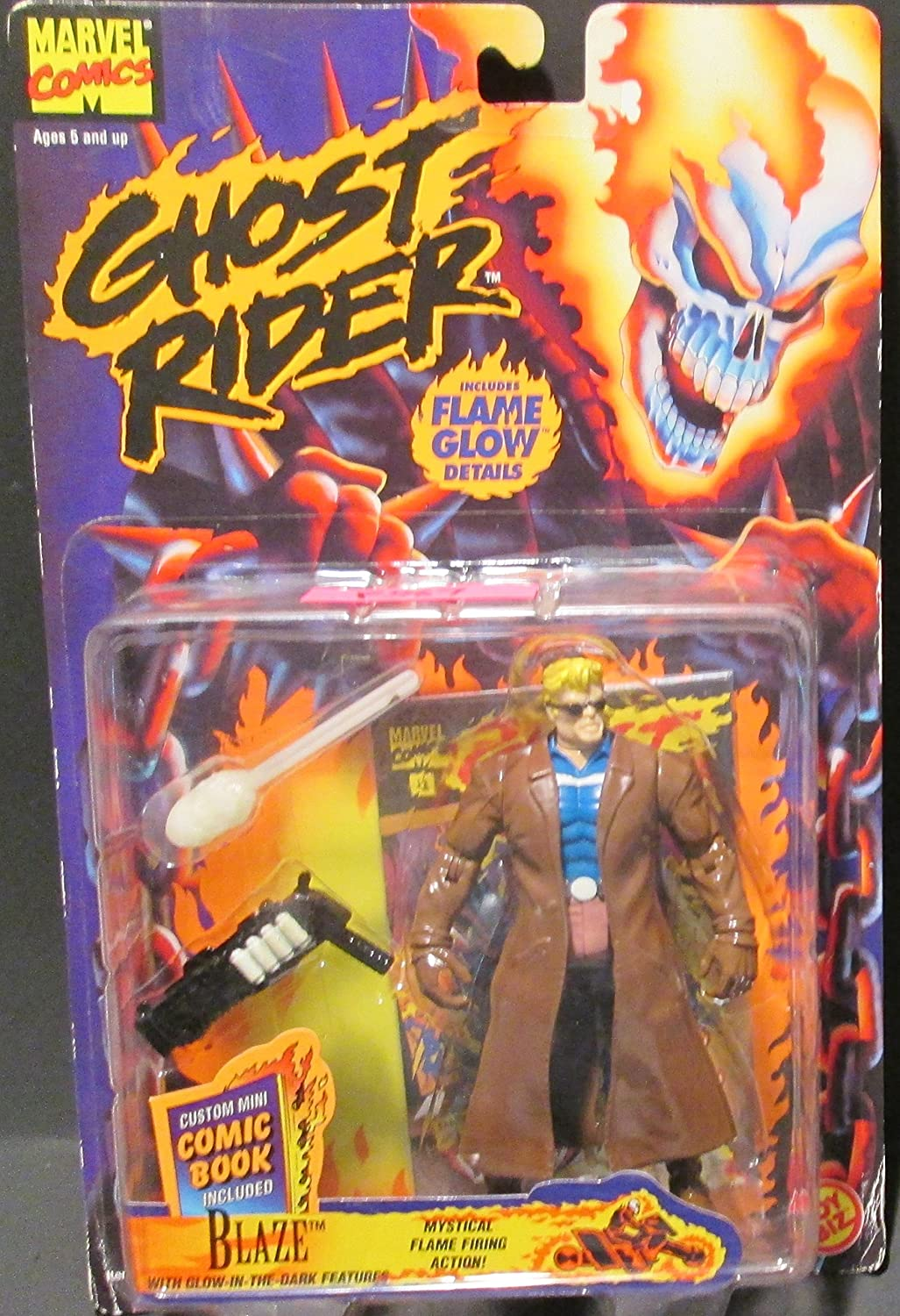 Flame Glow Details* 1995 Marvel Comics Ghost Rider Action Figure /& Mini Comic Book BLAZE with Mystical Flame Firing Action
